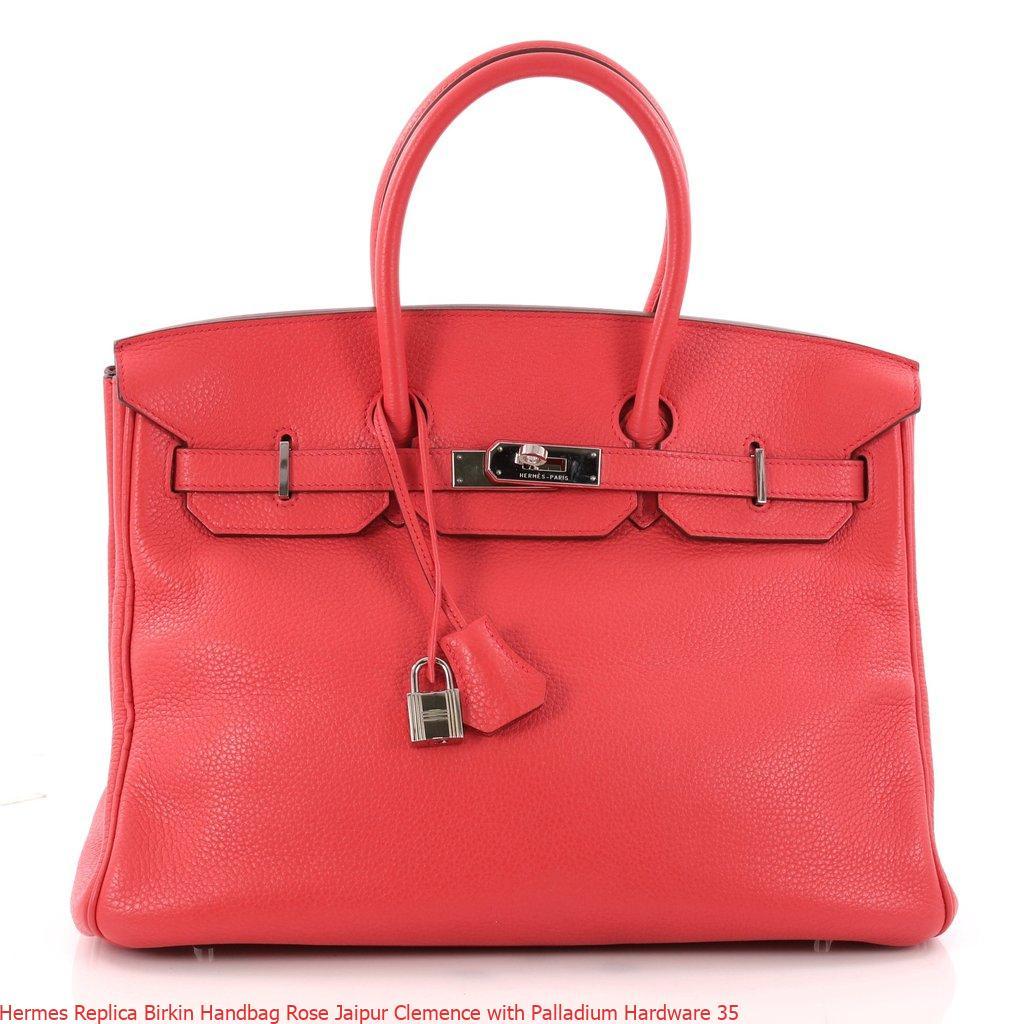 Hermes Replica Birkin Handbag Rose Jaipur Clemence With Palladium Hardware 35