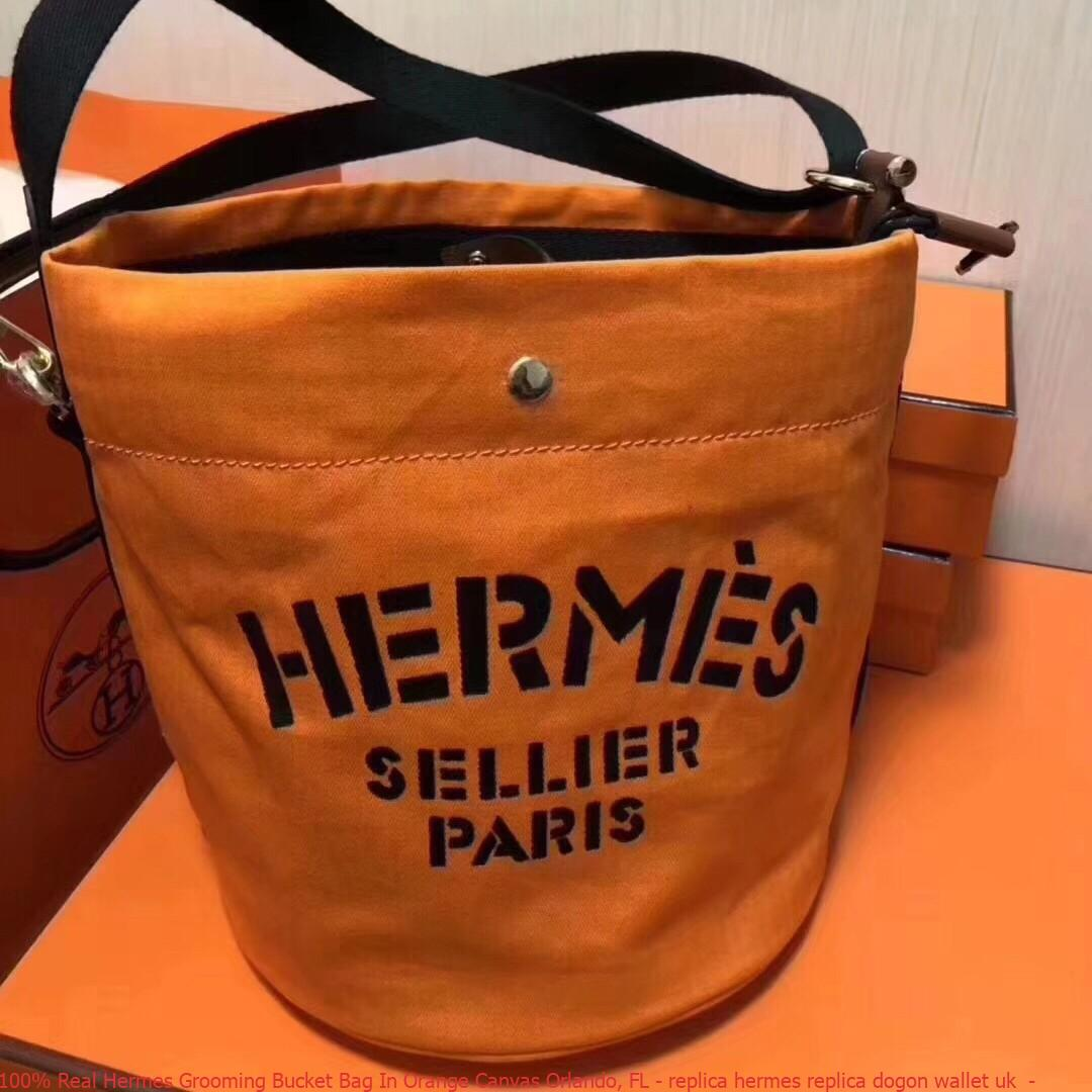 d1ecb44bb07c 100% Real Hermes Grooming Bucket Bag In Orange Canvas Orlando