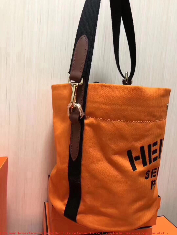 6ee6a9b240a 100% Real Hermes Grooming Bucket Bag In Orange Canvas Orlando, FL ...